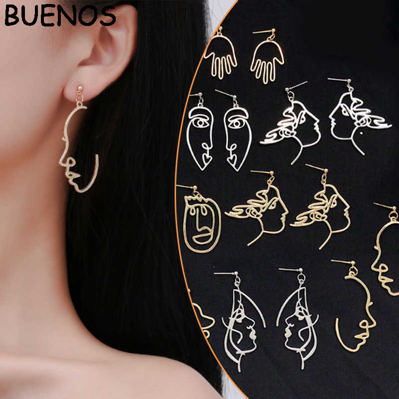 BUENOS/модные серьги в форме лица для девочек, металлические винтажные абстрактные висячие серьги, женские серьги для лица, подарок для лица, ювелирные изделия