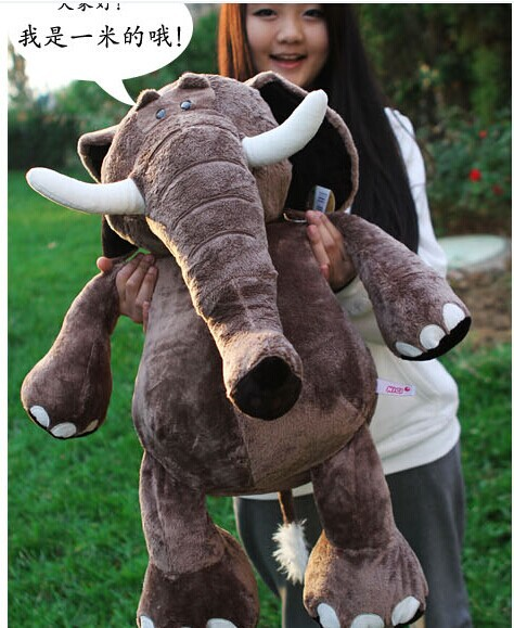 Stuffed animal 100 cm elephant plush toy doll gift w2595 stuffed animal 90 cm plush dolphin toy doll pink or blue colour great gift free shipping w166