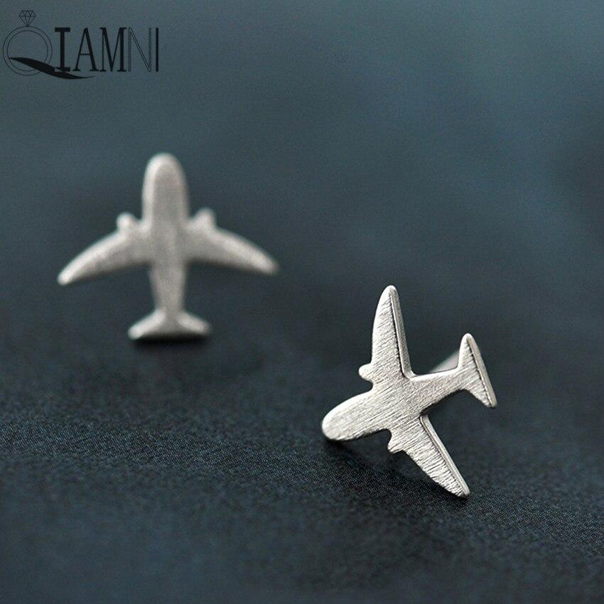 QIAMNI Cute Flying Plane Stud Earring For Women Girls Statement Jewelry Accessories Birthday Christmas Gift