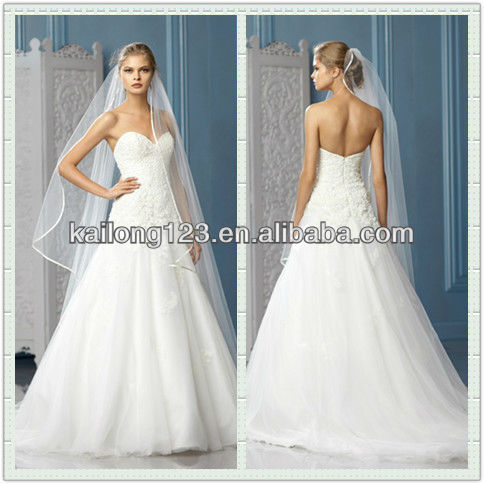 Flashy Sweetheart A Line Chapel Train Fully Beaded Bodice Lace Liques Bottom Tulle Wedding Dress