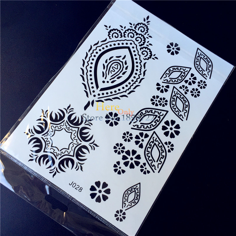 1PC New Black Ink Henna Waterproof Tattoo HBJ28 Flower Mehndi Design Flash Temproary Tattoo Sticker Women Finger Hand Leg Decals