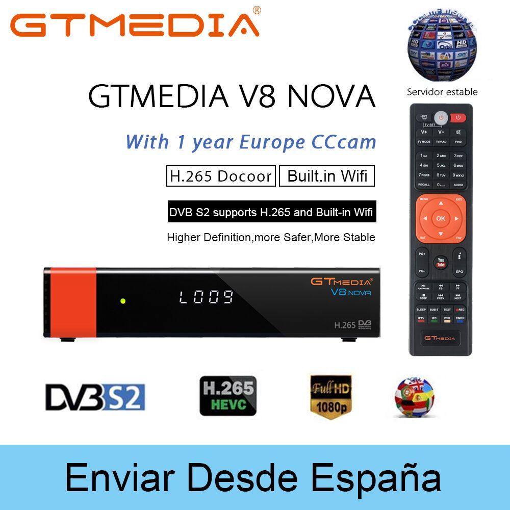 DVB-S2 Freesat V8 Super Recettore gtmedia V8 nova Decoder DVB-S2 freesat Europa Cline per 1 Anno Spagna H.265 V8 Ricevitore