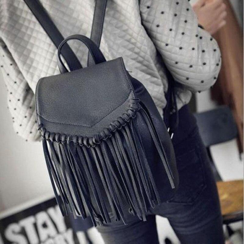 Tassel Backpack Vintage Drawstring PU Leather Backpack Bags Women Fringe Bag