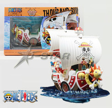 Free Shipping Cool 9″ One Piece Straw Hat Pirates Boat Thousand Sunny Pirate Ship Boxed PVC Collection Model Toy Gift