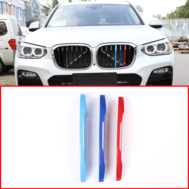 3 Colors Car Front Grille Trim Strips Grill Cover Trim Stickers For BMW X3 G01 2018 Car Accessories