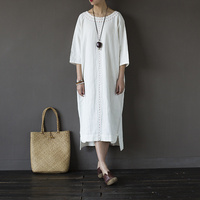 New Femme Red White Patchwork Causal Dress Round Neck Cotton Vintage Three Quarter Sleeve Vestidos Long