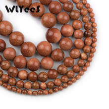 WLYeeS Wholesale Natural stone Golden sand 4 6 8 10 12mm round loose bead for women jewelry bracelet making DIY 15 Strand