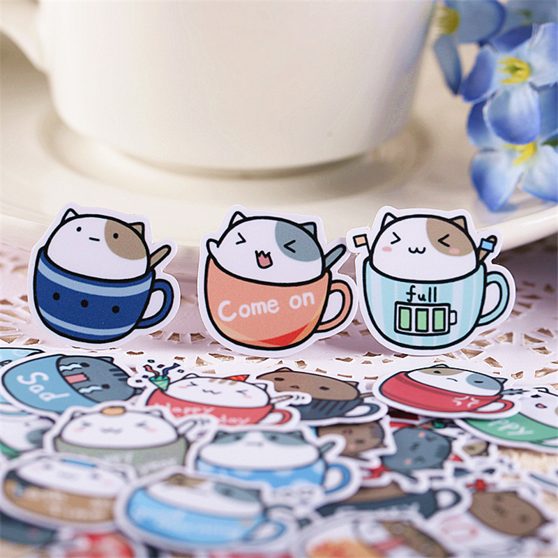 40 Pcs Coffee Cup Cat Sticker For Kid DIY Laptop Waterproof Skateboard Moto Phone Car Toy Scrapbooking Stickers