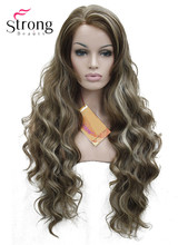Lace Front Wavy Brown Highlighted Full Synthetic Wig Women's Lace Wigs