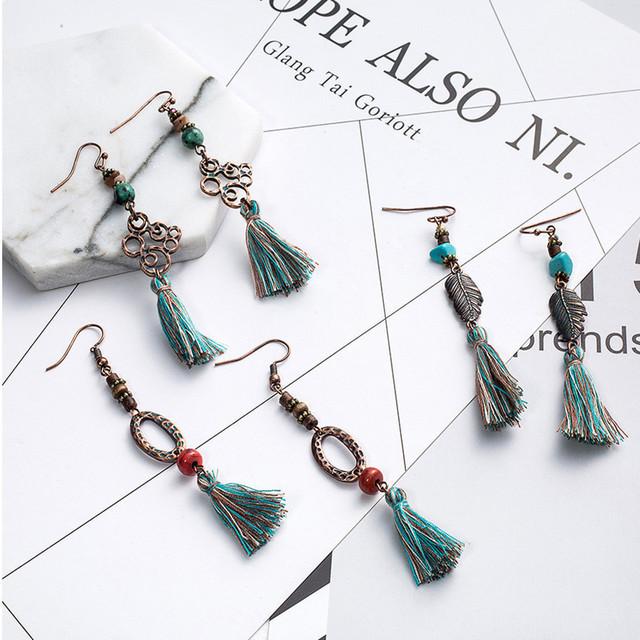 Long Boho Earrings with Tassel