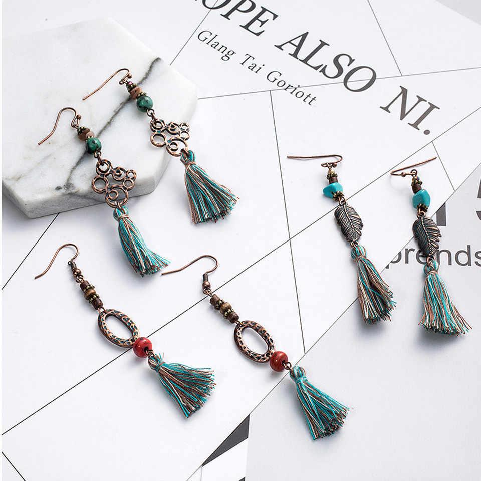 FUYA 2017 New statement jewelry tassel long earring for women wedding dangle drop earrings Ethnic vintage boho earring wholesale