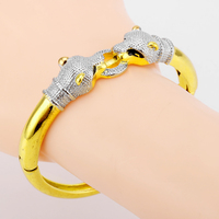 Ethiopian Panther Bracelets Tiger Bangles White Gold Color African Women Men Charm African Indian Jewelry Nice