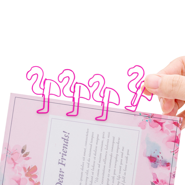 100pcs/lot lovely animal pink flamingo metal paper clips bookmark and binding for document school and office supply wholesale