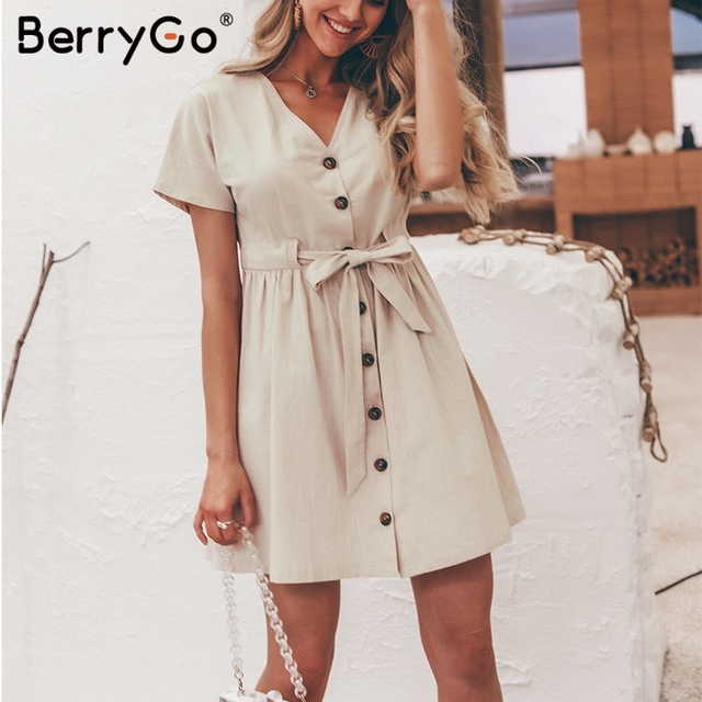 BerryGo Sexy v-neck women dresses linen dress Vintage short sleeve button sash mini dress Casual streetwear summer dress vestido