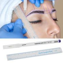 1Set Sterilisiert Tattoo Marker Stift Chirurgische Haut Microblading Positioning Tool mit Mess Lineal Permanent Make Up Zubehör