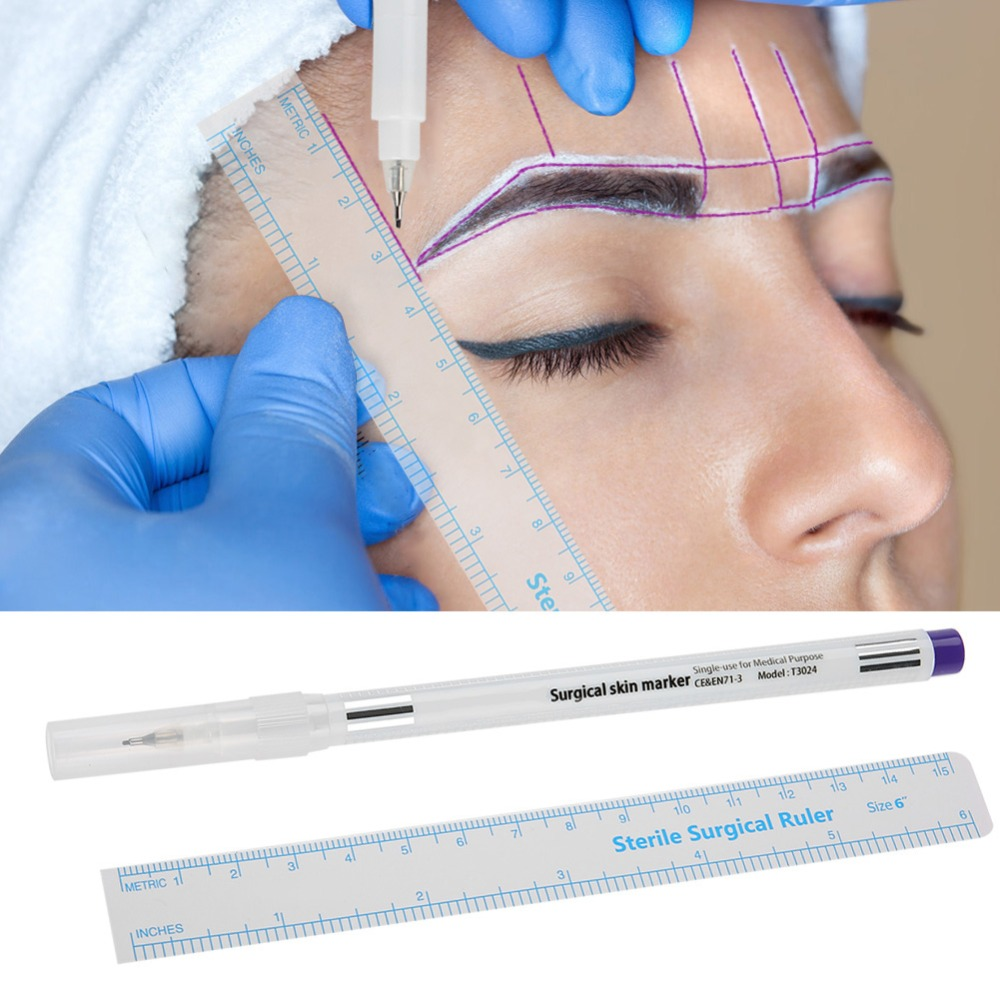 1Set Sterilized Tattoo Marker Pen Surgical Skin Microblading Positioning Tool with Measuring Ruler Permanent Makeup Accessories-in Tattoo accesories from Beauty & Health