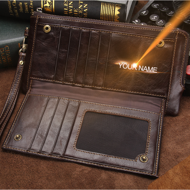 2021 Men Wallet Clutch Genuine Leather Brand Rfid  Wallet Male Organizer Cell Phone Clutch Bag Long Coin Purse Free Engrave