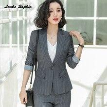 Womens Plus size Blazers coats 2019 Autumn cotton blend stripe Slim fit Small Suits jackets ladies Skinny Suit