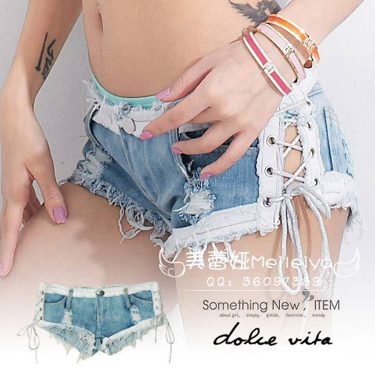 Sexy Women Lacing  Hot Shorts Stripe High Cut Micro MINI Jeans Hollow  Low Rise Waist Booty Short Brifes Erotic Culb Wear FX35 hollow out micro mini jeans hot shorts ripped low rise waist booty short high cut booty short shorts club dance wear fx35