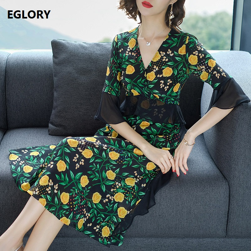 100%Silk Dress New Style Summer Dress 2018 Luxury Women V-Neck Green Leaves Yellow Floral Print Midi Party Tunic Vintage Dress