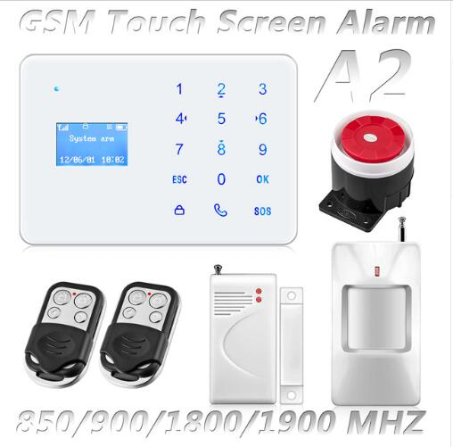 Latest Version of GSM Alarm System with Mobile Calling & Touch Screen LCD Clock Display & Li-Battery Built-in for Non-Stop Alarm 2 receivers 60 buzzers wireless restaurant buzzer caller table call calling button waiter pager system