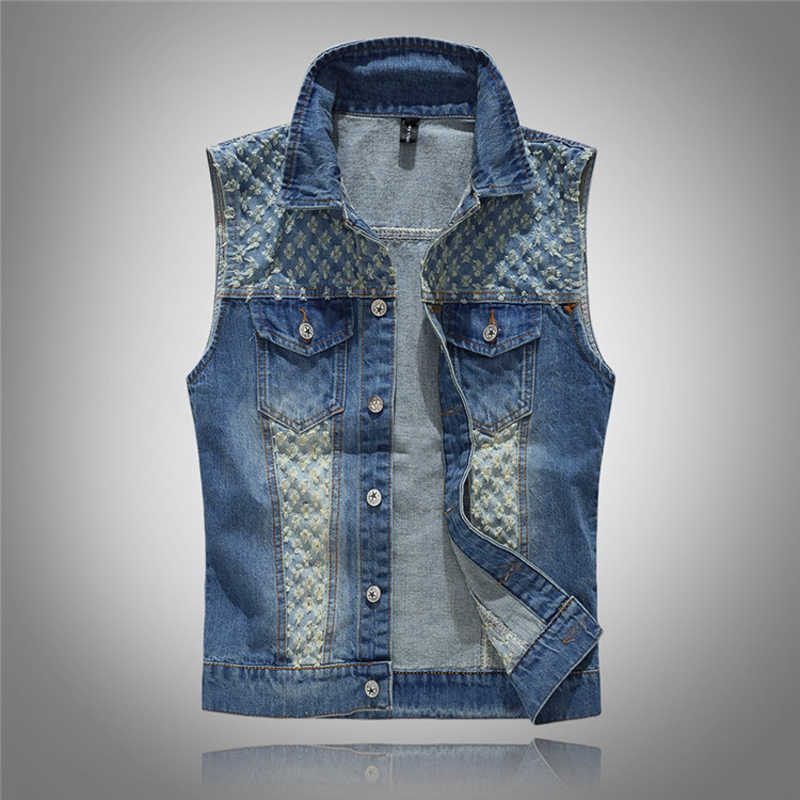 2018 Clothing  Classic Solid Blue Color Denim Vest Men's Punk Rock Style Waistcoat Motorcycle Sleeveless Jacket