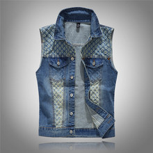 2018 Clothing Classic Solid Blue Color Denim Vest Men's Punk Rock Style Waistcoat Motorcycle Sleeveless Jacket(China)
