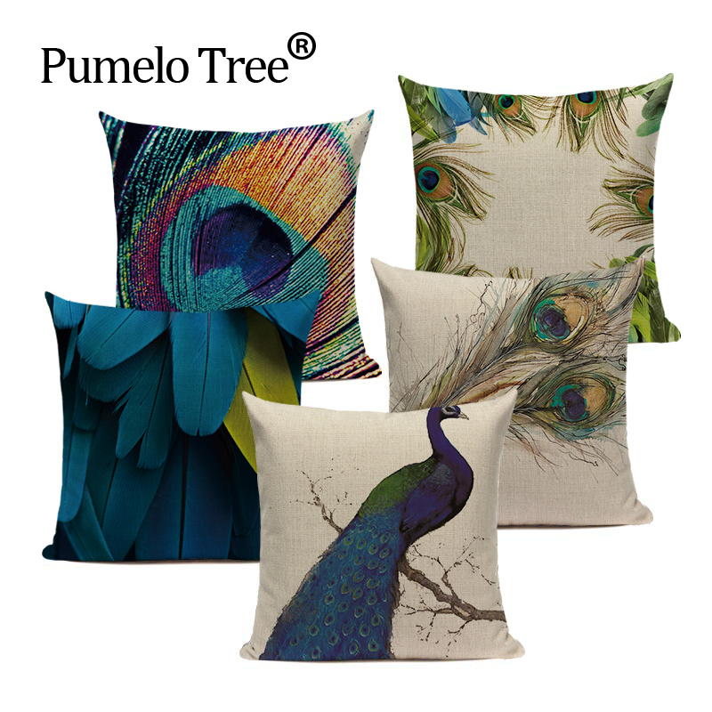 Velvet Blue Peacock Sofa Cushions Home Decor Simple Style Linen Square Sofa Bed Car Print Pillow Cover Customized Cushion Cover