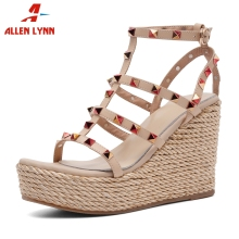 ALLENLYNN New Brand Genuine Leather Shoes Platform Gladiator Sandals Women 2019 Summer Women High Heels Rivet Shoes Woman Wedges цены онлайн