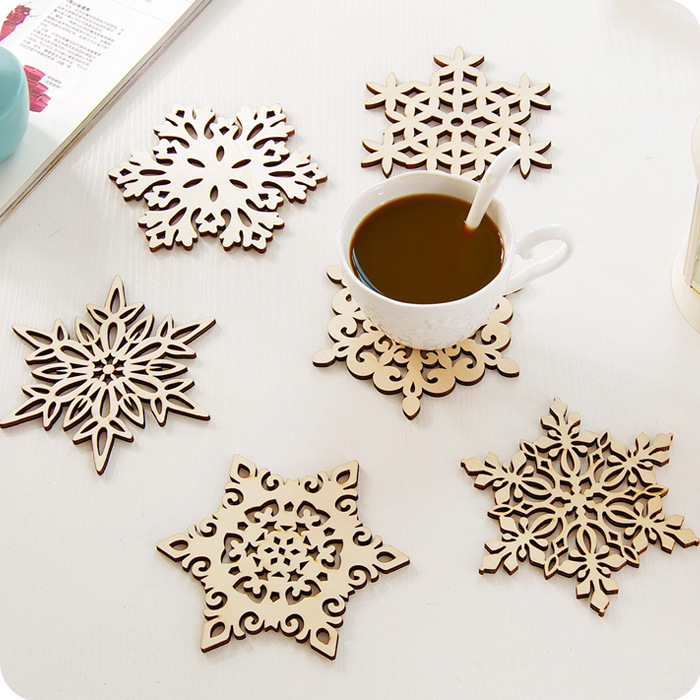 wooden snowflake coaster holder coffee tea drinkware mat heat insulation home shop cup saucer decorative craft