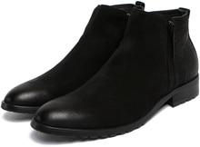 Мода британский стиль темно-синий/черный мужские ботинки из натуральной кожи мужская повседневная бизнес обувь 2017 мужские зимние ботинки сапоги