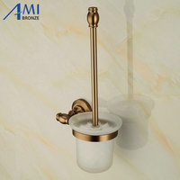 Antique Space Aluminum Bathroom Toilet Brush Holders Antique Toilet Brush With Glass Cup Sets