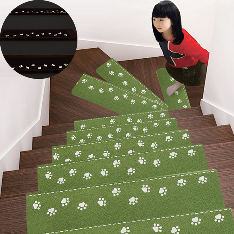 Anti-slip Stair Mat Carpet Suck Backing Silicone Treads Folding Luminous Home