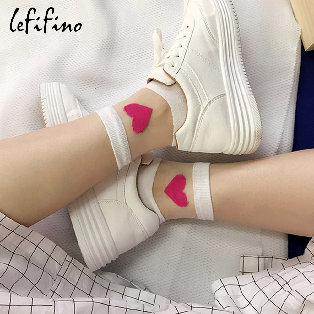 Summer Cute Love Transparent Women   Socks   Comfortable Sexy Heart Pattern Cotton Bottom Fashion   Socks   Soft White   Socks   Ne74230