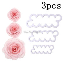 3 pcs/set Rose Flower Cake Molds Plastic White Fondant Cutter Decorating Biscuit