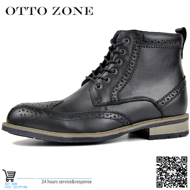 OTTO Hot Sell Genuine Leather Punk Combat Men s Leather Western Union Cowboy  Boot Motorcycle Rock Boots 7ee346c58129