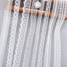 Cinta de encaje blanco de 38 tipos, 10 yardas, banda tejida, tela de boda de encaje francés africano, bricolaje, envoltura de regalo