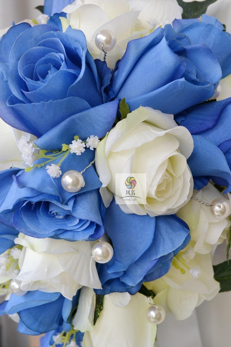 Blue white Waterfall Elegant Wedding Bouquets Artificial Bridal Brooch Bouquet Wedding Bouquet For Brides Bruidsboeket 2017 2