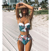 Высокая талия Купальники 2019 новый лист печати бикини женский купальник винтажный Ретро купальный костюм держатель бикини Maillot de bain femme