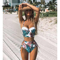 High Waist Swimwear 2019 New Leaf Print Bikinis Women Swimsuit Vintage Retro Bathing Suit Halter Biquini Maillot de bain femme