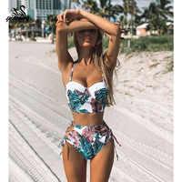 Traje de baño de cintura alta 2019 nueva hoja de impresión Bikinis traje de baño Vintage Retro traje de baño Halter Biquini Maillot de bain femme