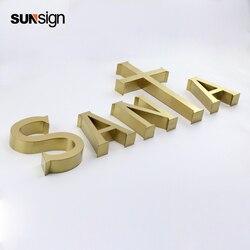 Signo de letra de acero inoxidable de Color dorado cepillado para nombre de la empresa letras nombre de la habitación signo de letra