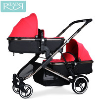 Babyruler Baby Strollers For Twins 3 in 1 carrinho poussette double jumeaux double stroller kinderwagen baby carriages