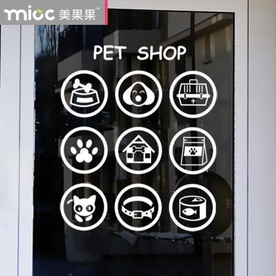 Pet Shop Glass Stickers Pet Design Glass Door Door Windeow Decorations Dogs  And Cats Feet Wall Decals