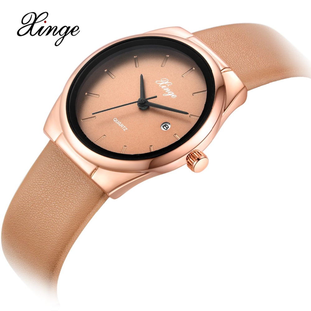 Women Leather Watch Xinge Brand Luxury Simple Dress Sport Wrist Watch Quartz Clock 2017 New Relogio Feminino Female Wristwatches splendid brand new boys girls students time clock electronic digital lcd wrist sport watch