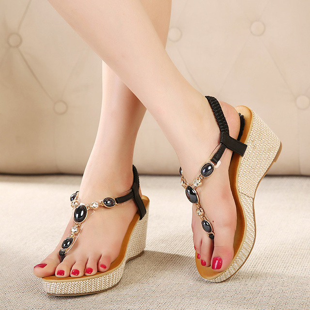 Womens Bohemian Summer Wedge Sandals - Platform Thongs Flip Flops Slippers Shoes