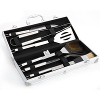 6pcs Stainless Steel BBQ Tool Set Barbecue Cooking Tools Kit with Metal Case GHS99