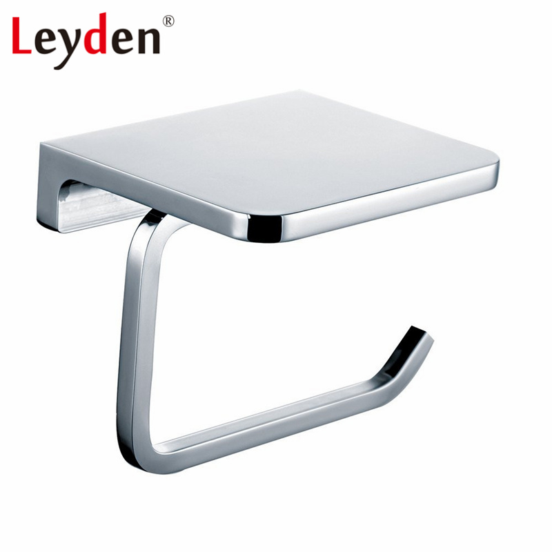 Leyden Stainless Steel Polished Chrome Wall Mount Toilet Paper Holder with Mobile Phone Shelf Toilet Roll Bathroom Paper Holder