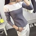 Poleras de mujer de punto mujeres de la camiseta camiseta de algodón superior sexy mujer camiseta de manga larga camiseta mujer camisetas femininas 2016