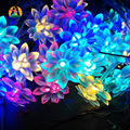2m 20leds Battery Lotus Flowers LED String Light  for Home and Garden Decoration Holiday Wreath Garlands String Lightings